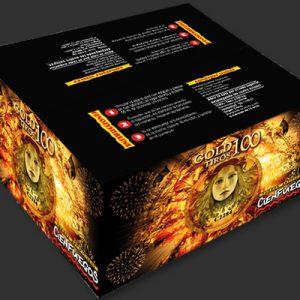 GOLD 100 TIROS  – Torta de 100 tiros bombas doradas con cracker y estruendo