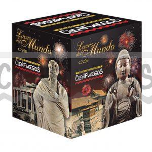 LUCES DEL MUNDO- Torta de 19 tiros cometa dorado con punta roja y bomba de color