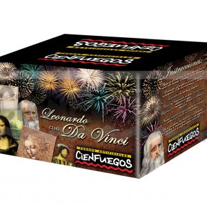 LEONADO DA VINCI – Torta de 80 tiros de 1″ efecto cracker y cometas en rojo, verde, amarillo y plata
