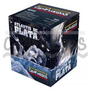 ATLANTIS DE PLATA – Torta 25 tiros de 1 1/2″ cometas trazadores dorados y plateados con bomba cracker