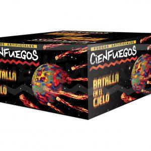 BATALLA EN EL CIELO – Torta de 100 tiros de 1 1/2″ efecto en abanico con cometas y bombas surtidas