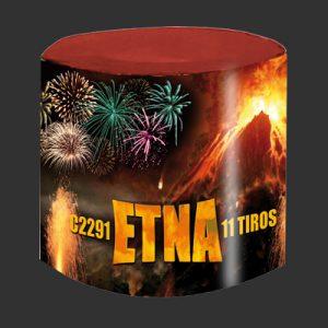 ETNA – Torta de 11 tiros de 1″ fuente color plata y bombas con efectos glitttering de colores surtidos
