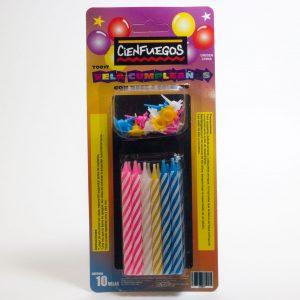 VELA CUMPLEAÑOS C/ BASE – 4 Colores en Blister