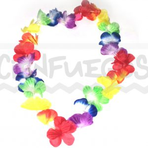 COLLAR DE FLORES C/ LED -Collar de Flores de Tela Surtido C/LED