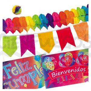 COMBO DECORATIVO – Combo surtido guirnaldas-banderines- cartel feliz cumple
