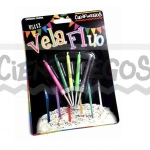 VELA  FLUO LLAMA DE COLOR – 5 Colores en Blíster
