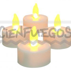VELA PLÁSTICA REDONDA LED –  Vela de plástico blanca con luz dorada
