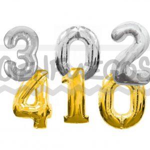 GLOBO METALIZADO  DE 0 – 4 – dorado – plateado