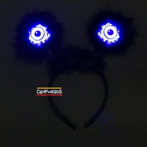 VINCHA OJOS ZOMBIES C/LED – Vincha con pelos y ojos c/led