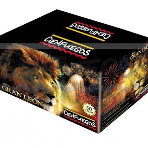 GRAN LEON – Torta de  50 tiros de 1 1/4″ efecto cola de león, cola de caballo c/bombas rojas y azules final cracker