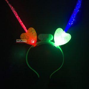 VINCHA corazones C/ LED  Y FIBRA ?PTICA – Colores varios